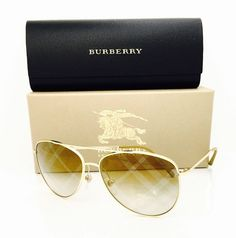 New Authentic Burberry Sunglasses 3072 1017 Gold/Light Brown Mirrored Bronze 57•14•135 With Case. These frames are unisex. MODEL#017  Price: $2200.00  Frame Material: Metal Frame Color: Gold Lens Color: Gold Style: Aviator Lens Technology: Gradient Country/Region of Manufacture: Italy