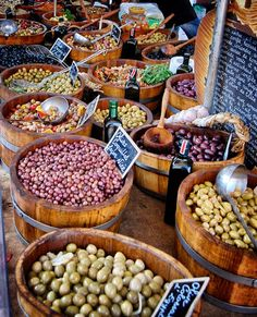 Olives at the Saturday market in Beaune, France. Photograph by Amitié Wines… Olives, Olive Market, Beaune France, Burgundy France, Farmers Market, Good Food, Marketing, Barrels, Provence