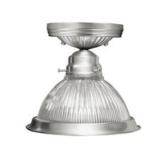 Livex Lighting 6006 1 Light 100W Semi-Flush Ceiling Light with Medium Bulb Base and Clear Ribbed Glass Glass from Home Basics Series