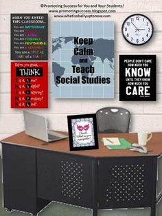 """Social Studies: Social Studies Poster: This printable poster features a world map background and the words, """"Keep Calm and Teach Social Studies."""""""