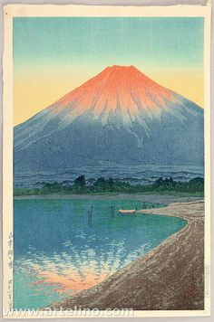 Dawn on Lake Yamanaka, by Kawase Hasui, 1931 -- See also at: http://collections.lacma.org/node/190239
