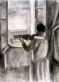 "Henri Matisse ""La violiniste a la fenêtre"" (The Violinist at the Window) charcoal on paper 1924 photo courtesy of the Palace of the Legion of Honor Henri Matisse, Matisse Kunst, Matisse Drawing, Matisse Paintings, Matisse Art, Oil Paintings, Landscape Paintings, Acrylic Painting Lessons, Watercolor Paintings Abstract"