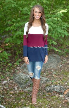 The Pink Lily Boutique - Just The Way I Like Colorblock Blouse Burgundy , $34.00 (http://thepinklilyboutique.com/just-the-way-i-like-colorblock-blouse-burgundy/)