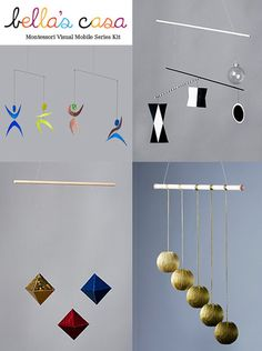 Montessori Visual Mobile Series Kit (Pre-assembled). Exclusive Product Offering. Includes the Munari, Octahedron, Gobbi & Dancer Mobile. $111.00, via Etsy.