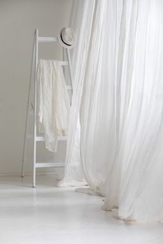 Perfect white linen curtains, Sheer curtain drop, Canopy over the bed, Linen curtain panel, Light tr