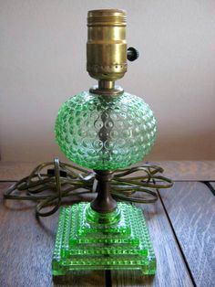 Vintage Depression Glass Green Hobnail Boudoir / depression glass is anything but depressing !!