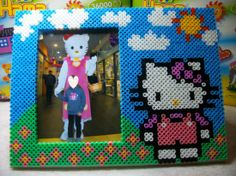 Hello Kitty photo frame hama perler beads by Nath Hour