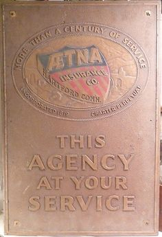 Aetna Insurance Co Business Sign Wall Plaque   ebay