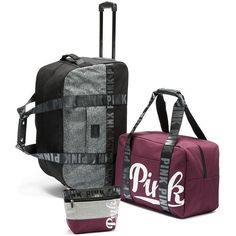 PINK 3-piece Travel Set found on Polyvore featuring polyvore, women's fashion, bags, luggage, purple and suitcases