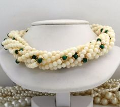 Antique C. 1940 Art Deco 14k Gold Malachite 4 mm Coral Bead 9 Strand Necklace! in Jewelry & Watches, Vintage & Antique Jewelry, Fine, Art Nouveau/Art Deco 1895-1935, Necklaces & Pendants | eBay