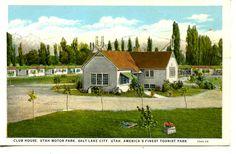 Club House-Tourist Motor Park-Cottages-Salt Lake City-Utah-Vintage Postcard
