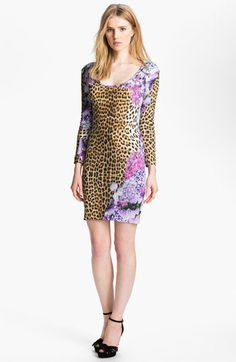 Just Cavalli Leopard & Floral Print Jersey Dress available at #Nordstrom