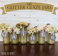 Learn how to make beautiful DIY glitter glazed glass jars with a few simple supplies.