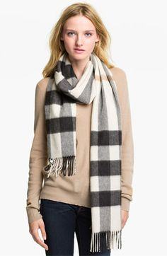Burberry Check Cashmere Scarf available at #Nordstrom- ok, I guess Lisa and I can get this to go with our trench and purse, but only if we have to.