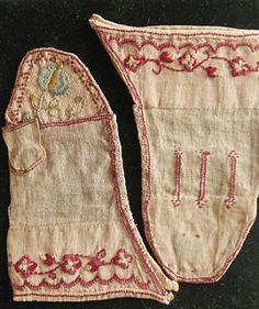Princess Charlotte's embroidered linen mittens, Kensington Palace, HRP. undated.