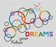 Bubbles cross stitch pattern rainbow easy by ClimbingGoatDesigns
