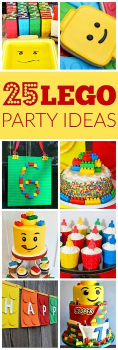 If your child is is into Legos, a Lego themed party would be perfect. Check out these 25 Lego Themed Party Ideas that will blow the kids away. Birthday Games, 6th Birthday Parties, Birthday Diy, Cake Birthday, Lego Parties, Birthday Ideas, Boys Birthday Party Themes, Lego Birthday Banner, Lego City Birthday