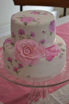 Torta pintada a mano con colorantes comestibles