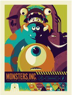 Version B - Retro Poster Illustration Design Monsters Inc Disney