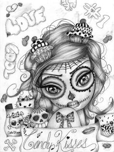 candy kisses by dottie gleason sugar skull girl tattoo canvas fine art print artwork sketch black-and-white paintings punk Skull Coloring Pages, Coloring Pages For Girls, Adult Coloring, Coloring Books, Sugar Skull Mädchen, Sugar Skull Girl Tattoo, Totenkopf Tattoos, Lowbrow Art, Gothic Art