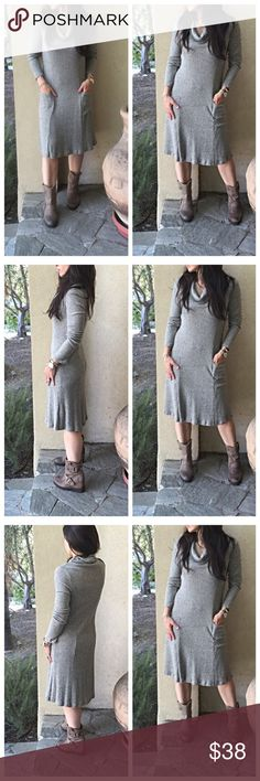 Fall cowl neck dress Pretty for Fall cowl neck front pocket dress soft fabric great style PLEASE Use the Poshmark new option you can purchase and it will give you the option to pick the size you want ( all sizes are available) BUNDLE and save 10% ( no trades price is firm unless bundled) Dresses