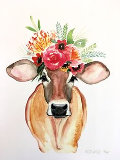 the Cow PRINT, floral cow, floral crown cow Carmen Cow art, cow painting Kirsten Dill Sonoran Watercolors Cow art, cow painting Kirsten Dill Sonoran Watercolors Cow Painting, Painting & Drawing, Painting Inspiration, Art Inspo, Kunst Inspo, Watercolor Print, Watercolor Paintings, Cow Art, Animal Paintings
