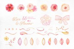 Lace & Flowers. Floral clipart by OctopusArtis on @creativemarket