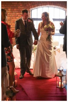 Gorgeous bride Dannie in the 'Brooke' gown walking down the aisle with handsome new hubby | Satin wedding dress | Red Carpet | Beautiful | Wedding