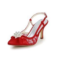 Pour femme Satiné Talon bobine Bout ouvert Sandales Chaussures à talon découvert avec Perle simulée