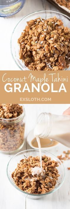This Vegan Coconut Maple Tahini Granola is crunchy, satisfying and the perfect balance of sweet and savoury. Plus, it'll be ready in under 30 minutes. @GiselleR | Healthy Living Blogger | ExSloth.com