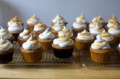 s'more cupcakes – smitten kitchen Via kayner. Make sure to use cupcake wrappers; if putting marshmallows on top then broiling probably do not need to freeze for as long Cupcake Recipes, Baking Recipes, Cupcake Cakes, Dessert Recipes, Kitchen Recipes, Cupcake Wrappers, Frosting Recipes, Baking Tips, Bread Baking