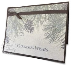 Stampin Up Ornamental Pine Dryer Sheet WOW Card Technique. video on blog. #stampinup #christmas #cardmaking #crafting