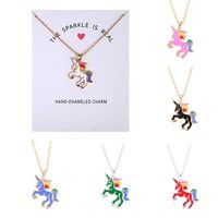 Wish | Lucky Lovely Unicorn Necklace Pendant Long Acrylic Pattern New Fashion Animal Jewelry for Women Charm Collar Choker Bijoux Gift Elegant Jewelry Amulet(Include Card)