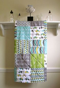 Baby Quilt, Modern - Elephants & Arrows - Grey, Aqua, Green, Olive, and White - Flannel or Minky Back - Stroller, Baby, or Toddler Size