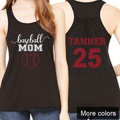 09d8f84a30b3c Baseball Mom Heart Tank - Custom Colors - Personalized Name Number