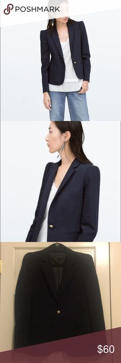 Zara Doublecloth Navy Blazer Sz L Zara Doublecloth Navy Blazer Sz L. Cute polka dot lining with burgundy accents. Has slightly gathered shoulder for a feminine touch to offset the tailored look.  No stains or tears. Pet and smoke free home. Zara Jackets & Coats Blazers