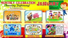 2018 Monthly Celebration with Monthly Motto January English Bulletin Boards, Elementary Bulletin Boards, Classroom Bulletin Boards, Classroom Rules High School, Computer Lab Rules, Monthly Celebration, School Forms, Daily Lesson Plan, School Labels