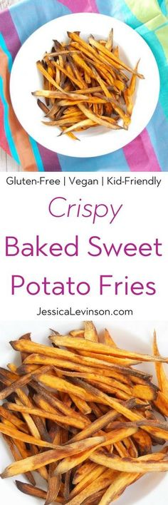 Crispy baked sweet potato fries are easy to make, kid-friendly, and delicious. The perfect side dish for any weeknight family dinner! Get the gluten-free and vegan recipe (Baking Sweet Fries) Gluten Free Sides Dishes, Healthy Side Dishes, Vegetable Side Dishes, Side Dish Recipes, Appetizers For A Crowd, Finger Food Appetizers, Finger Foods, Appetizer Recipes, Snack Recipes