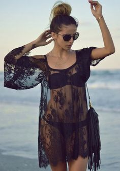 Black Floral Irregular Sexy Elbow Sleeve Lace Blouse - Blouses - Tops