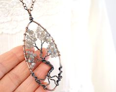 Raw Crystal Labradorite Tree of Life Necklace Wirewrapped
