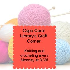Every Monday at 3:30 at Cape Coral Library, you can create a handmade gift. Click for more info!