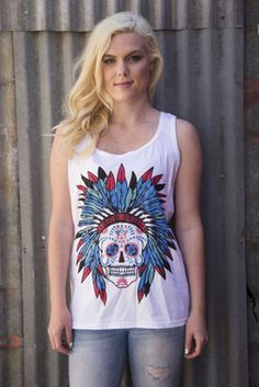 Sweet Sugar Skull White Tank Top Shirt - up to 2X