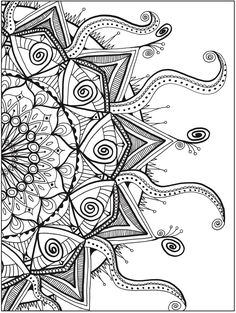 Zendala Coloring Book By: Lynne Medsker <> Dover Publications PAGE 4 Davlin Publishing Coloring Book Pages, Printable Coloring Pages, Coloring Sheets, Mandala Coloring Pages, Mandala Art, Dover Publications, Zentangle Patterns, Zentangles, Tattoo Studio