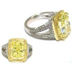 Cushion Cut Natural Fancy Yellow Diamond Ring #imagesjewelers #customjewelry #diamondring #yellowdiamond