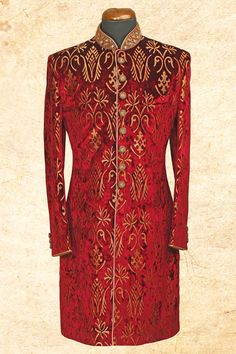 #Maroon fashionable #suede sherwani with bandhgala-IW619