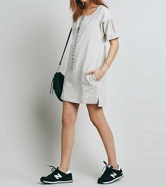 73ae91336113 3382 Nwd Free People Lace Sundrop Shapeless Mini Gray Cotton Tunic Dress S  6  fashion