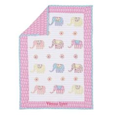 Pottery Barn Kids Vienna Elephant Toddler Quilt Crib New Pink Paisley Flowers | eBay