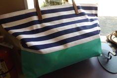 Kate Spade Canvas Beach Travel Tote Striped Green Navy White XL #katespade #TotesShoppers