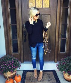 Shop – The Styled Duo OOTD || Style blogger || Nordstrom || Shop || Sweater || Fall Style || Booties || LV Neverfull || Distressed denim