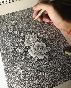 Autumn Night by Visoth Kakvei Doodle Art Drawing, Mandala Drawing, Art Drawings Beautiful, Art Drawings Sketches Simple, Black And White Art Drawing, White On Black Art, Doodle Art Designs, Pen Designs, Mandala Art Lesson